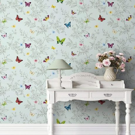 Butterfly And Flowers Pattern Wallpaper (1606)