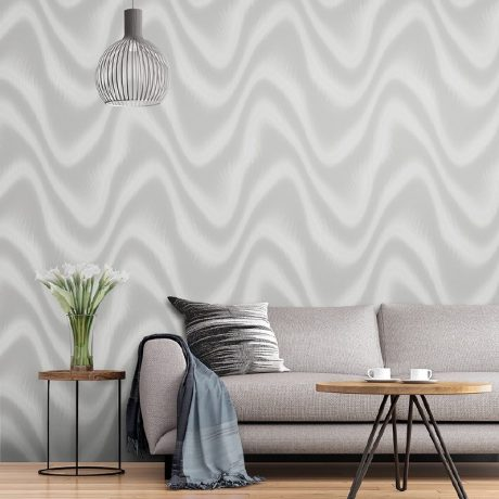 Modern Abstract Metallic Wave Pattern Wallpaper (1611)