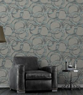 Metallic Circles Ornamental Wallpaper (1614)