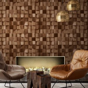 Wood Tiles 3D Pattern Wallpaper (1615)