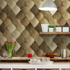 Wood Tiles 3D Pattern Wallpaper (1619)