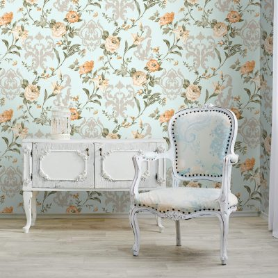Floral Damask With Blooming Roses Wallpaper (7803)