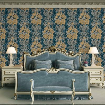 Floral Detailed Rococo Damask Pattern Wallpaper (7805)