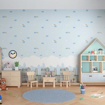 Sky with Clouds and Rainbows Kids Wallpaper (8902)