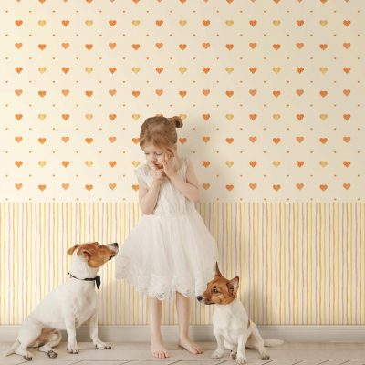 Heart Shapes with Warm Colours Kids Wallpaper (8905)