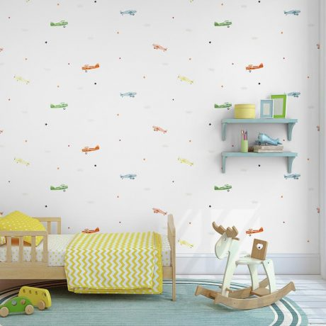Planes, Stars and Clouds Kids Wallpaper (8907)