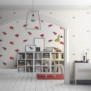 Superman and Stripes Design Kids Wallpaper (8915)