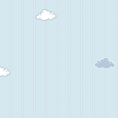Clouds and Stripes Kids Wallpaper Blue, Light (8916-2)