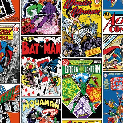 DC Comic Book Covers Kids Wallpaper Dark, Multicoloured (8922-1)