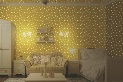 Glow in the Dark Floral Kids Wallpaper (8930)