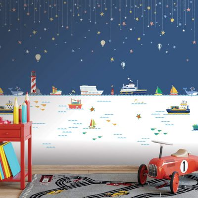 Nighttime Ocean Scene Kids Mural Wallpaper WB2158