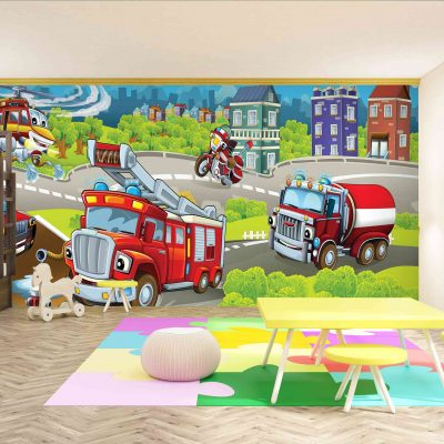 Fire Engine Kids Mural Wallpaper (M958)