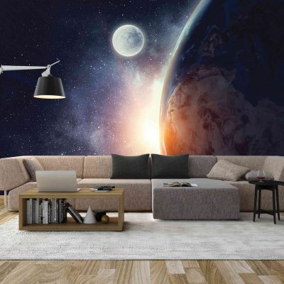Earth and Moon Mural Wallpaper (M800)