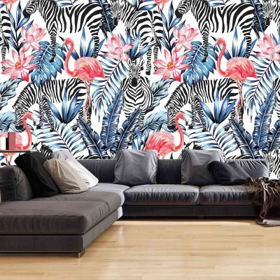 Flamingo Zebra Mural Wallpaper (M814)